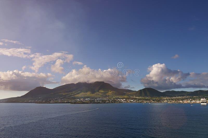 Panorama av ön för St kitts arkivbilder