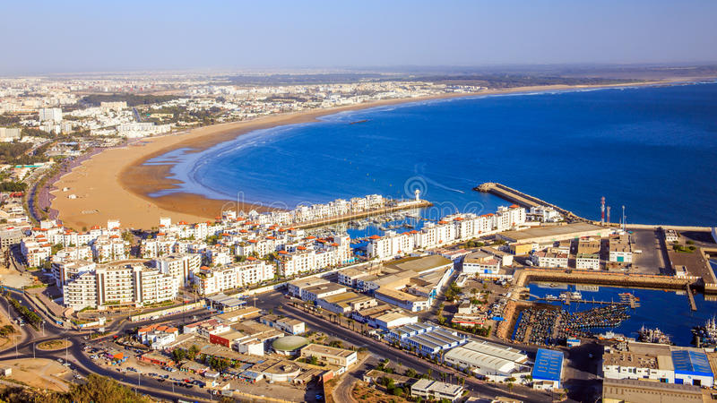Panorama av Agadir, Marocko arkivbild