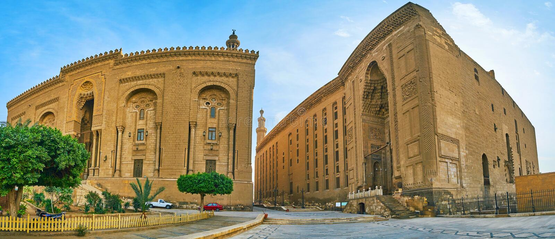 Panorama av al--Rifai och Sultan Hassan moskéer, Kairo, Egypten arkivfoton