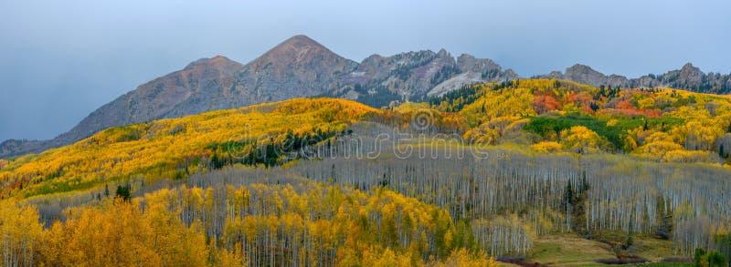Panorama av Autumn Mountain Range arkivbild