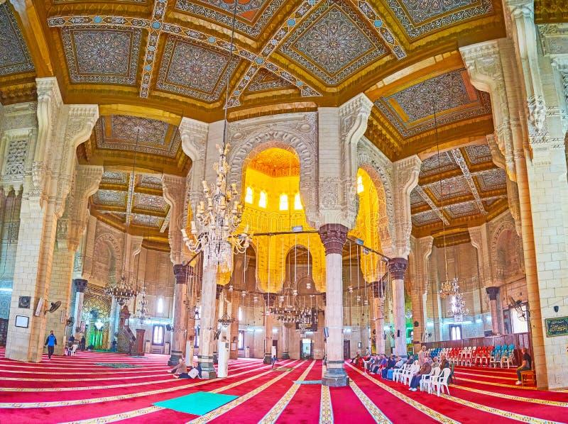 Panorama av bönkorridoren, Abu al-Abbas al-Mursi Mosque, Alexa arkivbild
