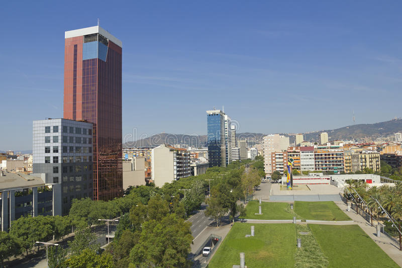 Panorama- av Barcelona royaltyfri fotografi