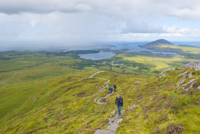 Panorama av berg, sumpigt land och heathlanden av den Connemara nationalparken i sommar arkivbild