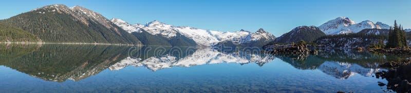 Panorama av bildgaribaldisjön nära whistler royaltyfri bild