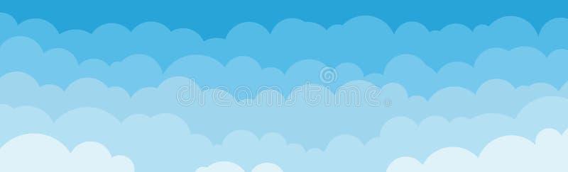 Panorama av blå himmel med molnbakgrund kan användas för affisch eller presentationsdesign vektor illustrationer