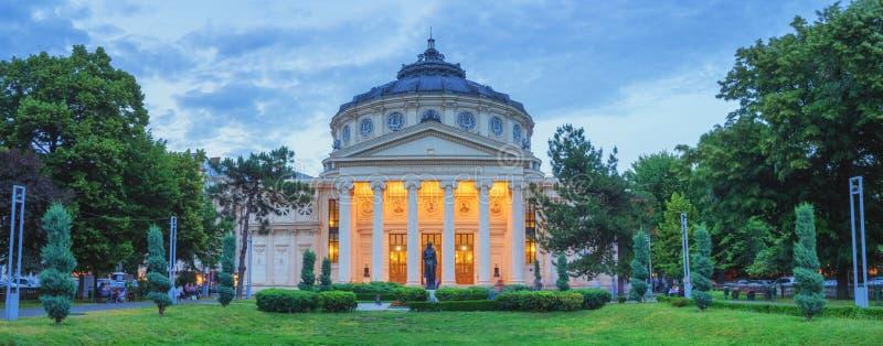 Panorama av Bucharest Atheneum, Rumänien arkivfoto