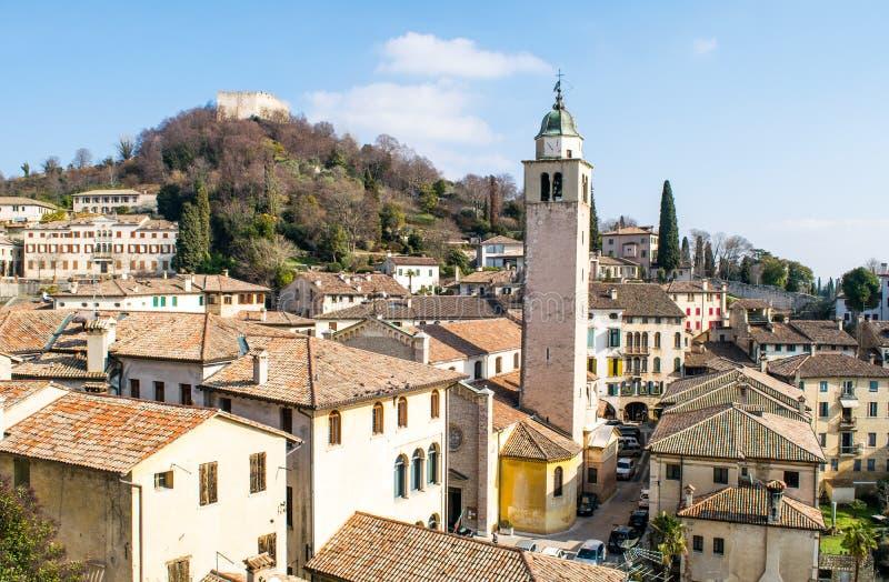Panorama av byn av Asolo arkivfoto