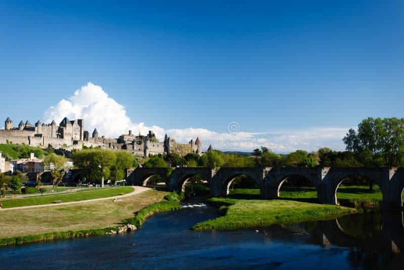 Panorama av Carcassonne befästningar royaltyfri bild
