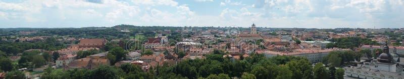 Panorama av centret av Vilnius, Litauen arkivbild