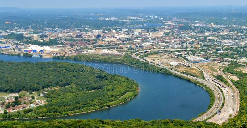 Panorama av Chattanooga, Tennessee från utkikberget royaltyfri bild