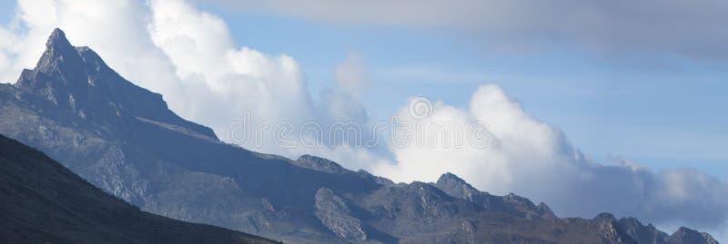Panorama av de Anderna bergen Stat av Merida venezuela arkivfoto