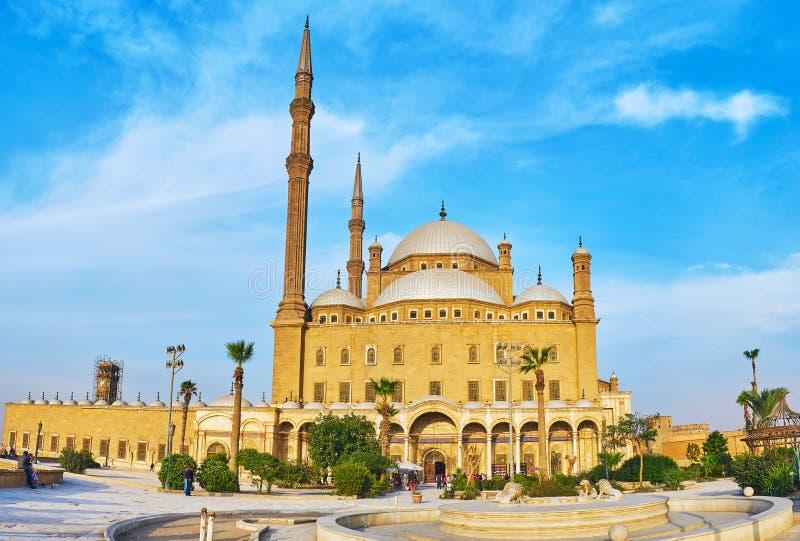 Panorama av den alabaster- moskén, Kairo, Egypten arkivbild