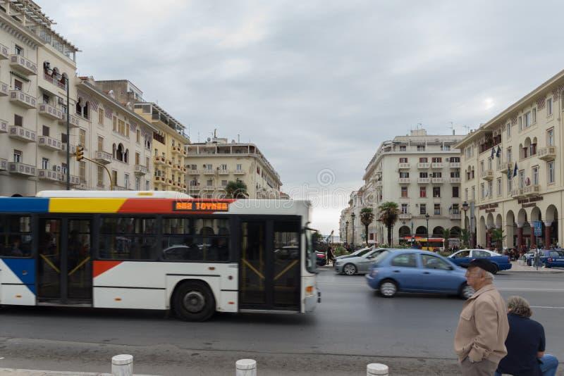 Panorama av den Aristotelous fyrkanten i mitten av staden av Thessaloniki, centrala Macedon fotografering för bildbyråer