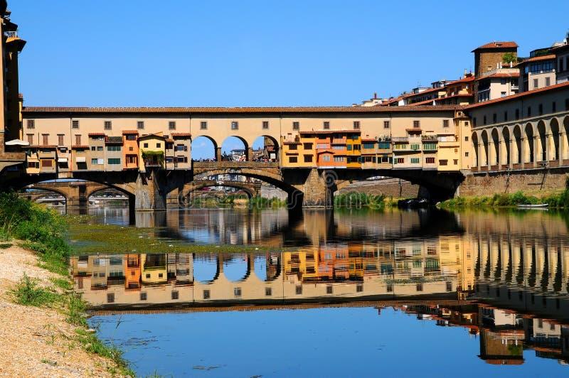 Panorama av den berömda gamla bron Ponte Vecchio och det Uffizi gallerit med blå himmel i Florence som sett från den Arno floden royaltyfri fotografi