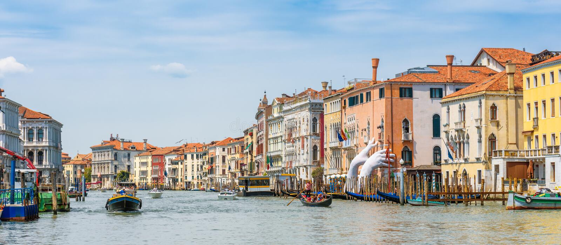 Panorama av den berömda Grand Canal, Venedig, Italien royaltyfria bilder