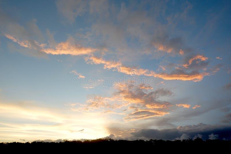 Panorama av den blåa himlen med moln arkivbild