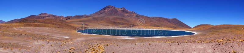Panorama- av den blåa sjön Meniques, Atacama öken, Chile royaltyfri fotografi