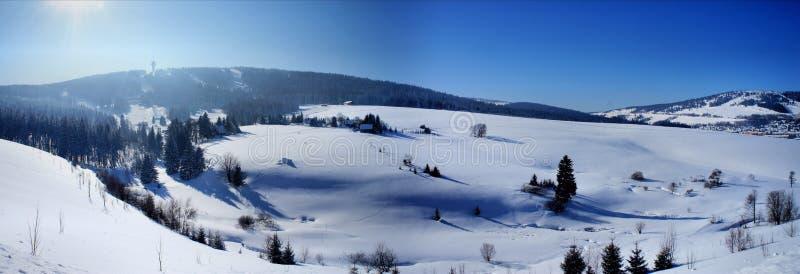 Panorama av den bohemiska Erzgebirgen arkivfoto