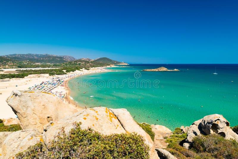 Panorama av den Chia kusten, Sardinia, Italien royaltyfri fotografi