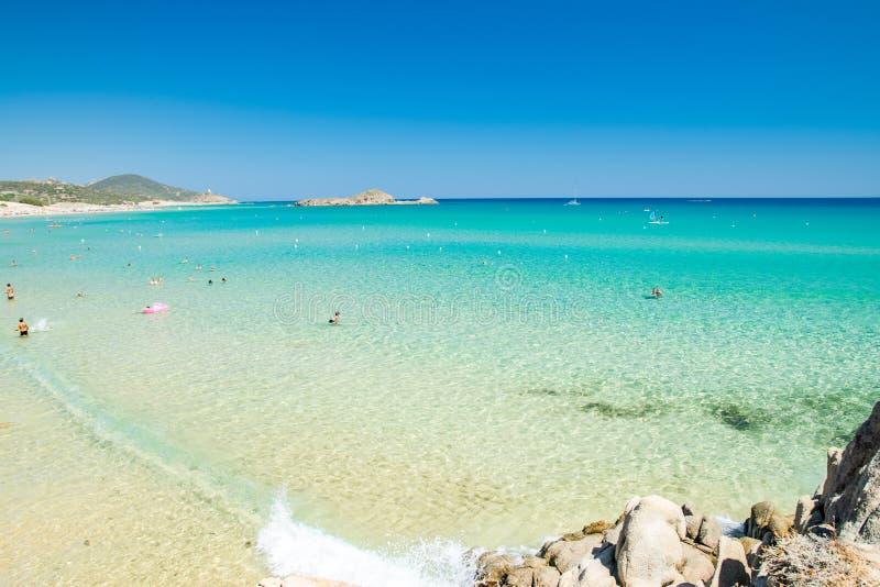 Panorama av den Chia kusten, Sardinia, Italien royaltyfria foton