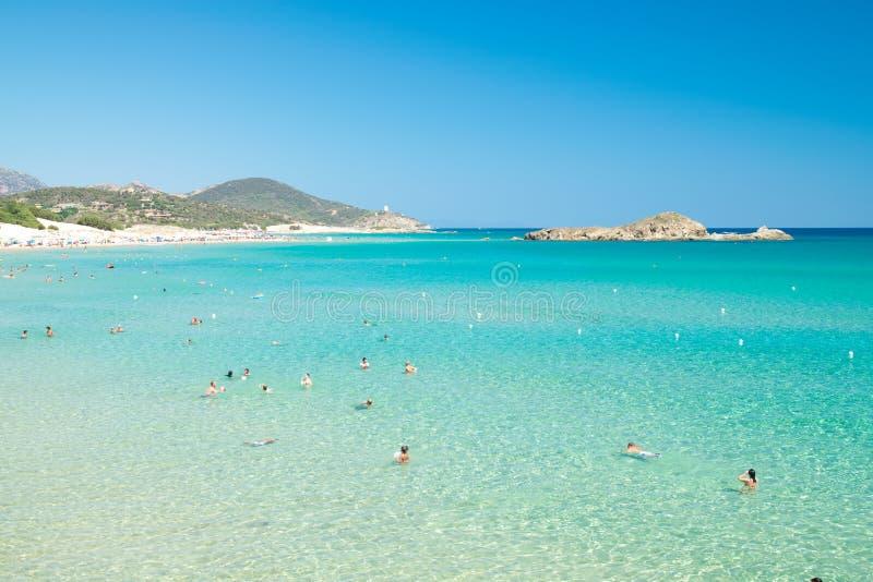 Panorama av den Chia kusten, Sardinia, Italien royaltyfri foto