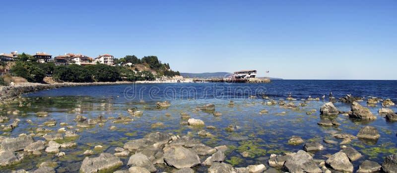 Panorama av den gamla Nessebar östliga kusten arkivbilder