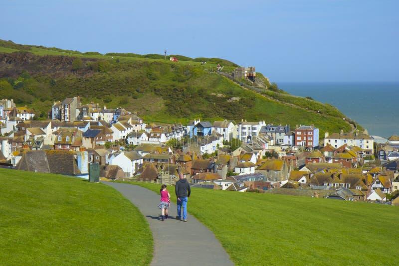 Panorama av den gamla staden i Hastings arkivfoton