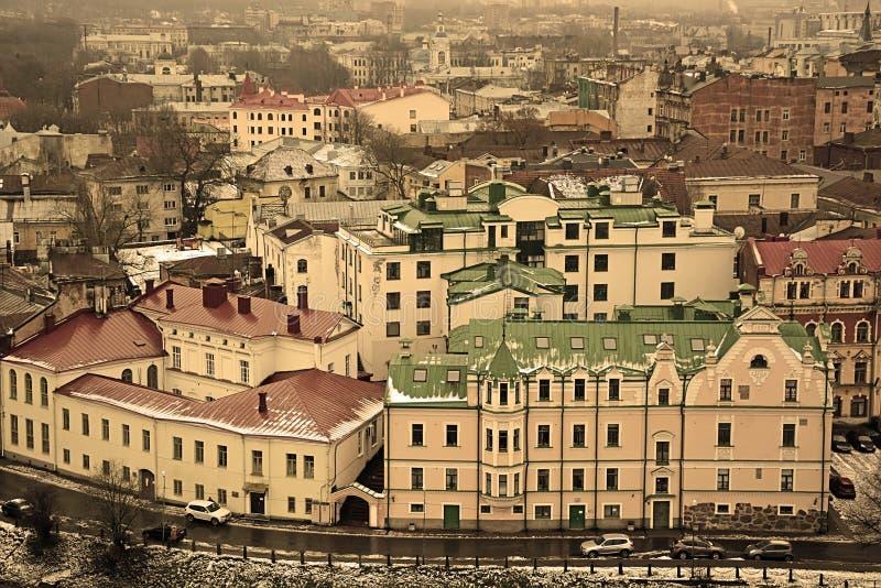 Panorama av den gamla staden Vyborg royaltyfri foto