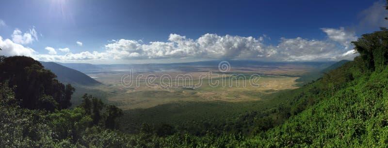 Panorama av den Ngorongoro krater royaltyfria bilder