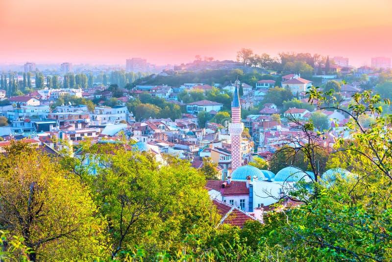 Panorama av den Plovdiv staden, Bulgarien royaltyfri fotografi