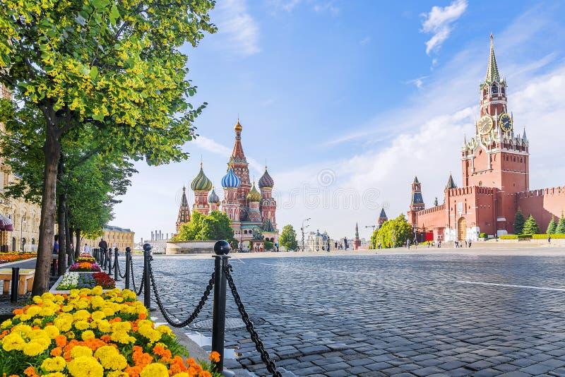 Panorama av den röda fyrkanten i Moskva arkivfoto