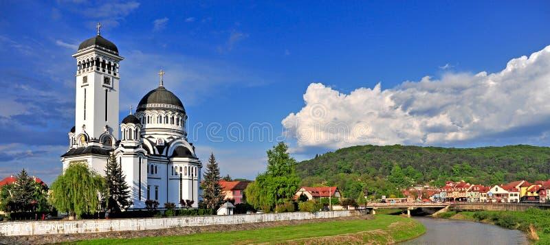 Panorama av den Sighisoara staden, Rumänien arkivfoto