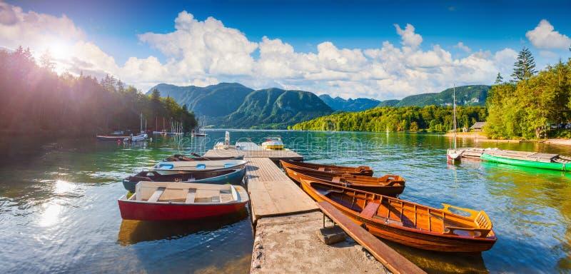 Panorama av den soliga morgonen för sommar på Bohinj sjön arkivfoto