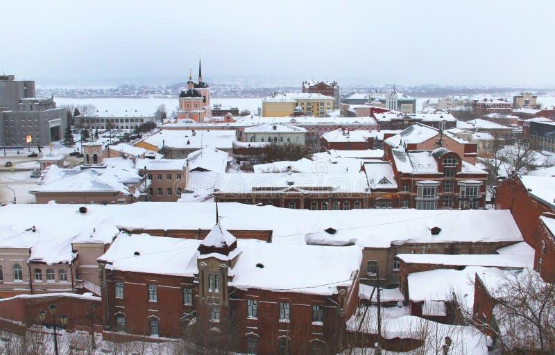 Panorama av den Tomsk staden, Ryssland, Sibirien royaltyfri fotografi