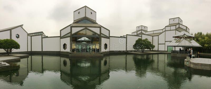 Panorama av det Suzhou museet i östliga Kina royaltyfria foton