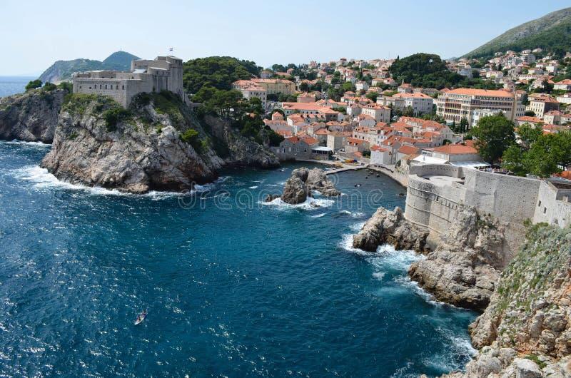 Panorama av Dubrovnik, härlig gammal stad i Kroatien, Europa arkivbild