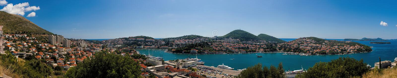 Panorama av Dubrovnik, Kolocep fjärd arkivbilder