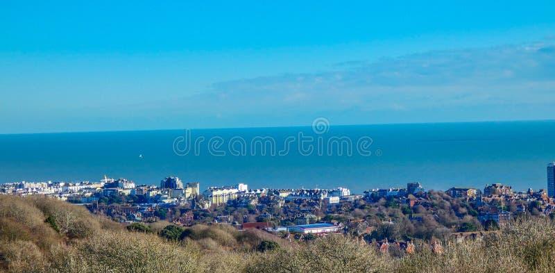 Panorama av Eastbourne, ?stliga Sussex, UK royaltyfri foto