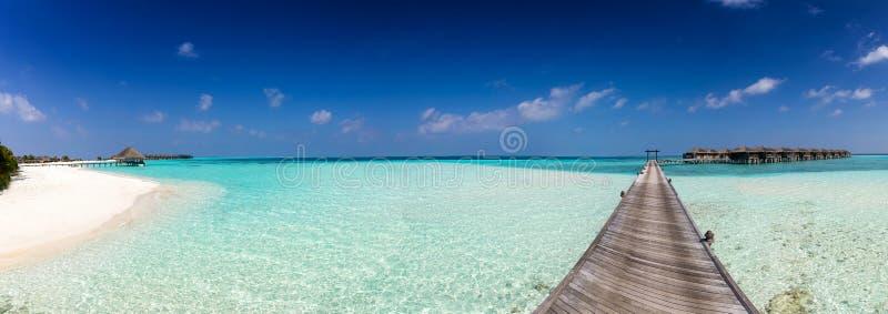 Panorama av en ö i Maldiverna royaltyfria foton