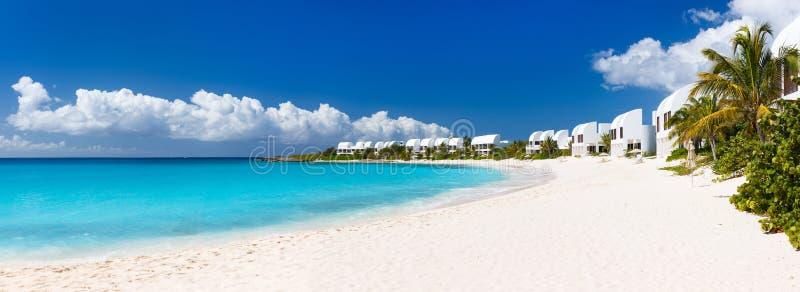 Panorama av en härlig karibisk strand royaltyfri fotografi
