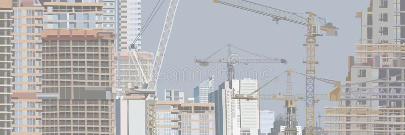 Panorama av en stad under konstruktion med höga byggnader och konstruktionskranar stock illustrationer