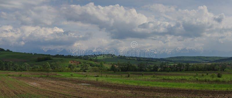 Panorama av fält och Carpathians berg, Transylvanian, romare royaltyfri bild