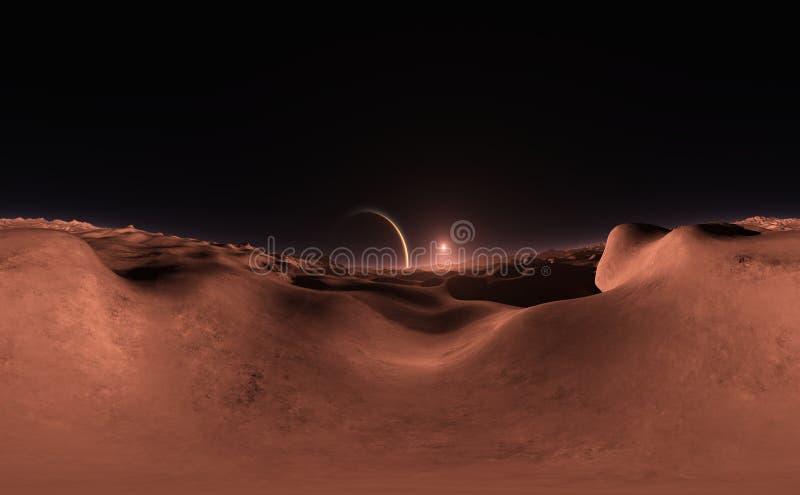 Panorama av fantasilandskapsolnedgången, översikt för miljö HDRI Equirectangular projektion, sfärisk panorama royaltyfri illustrationer