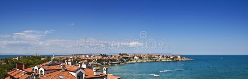Panorama av fjärden i Sozopol, Bulgarien. Sikt på Blacket Sea arkivfoto