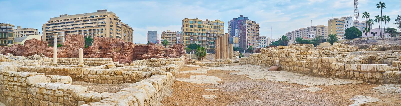 Panorama av forntida Roman Auditorium, Alexandria, Egypten arkivbilder