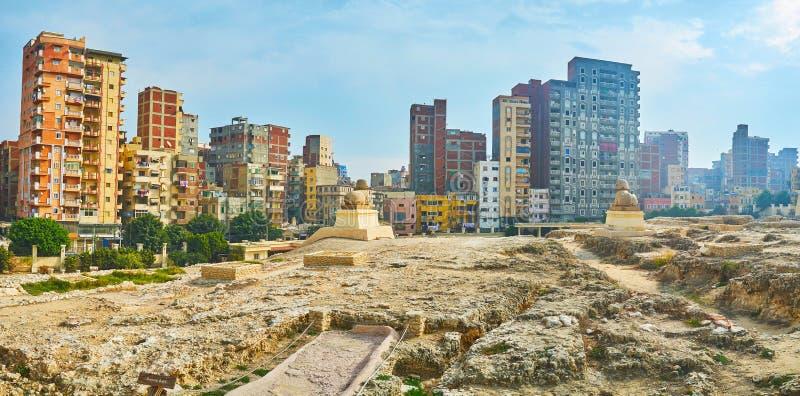 Panorama av forntida Serapeum fördärvar, Alexandria, Egypten royaltyfria foton