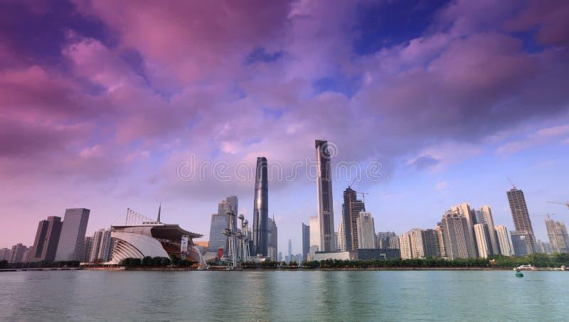 Panorama av Guangzhou, Haixinsha royaltyfri bild