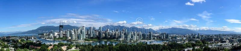 Panorama av i stadens centrum Vancouver, F. KR., Kanada arkivbilder