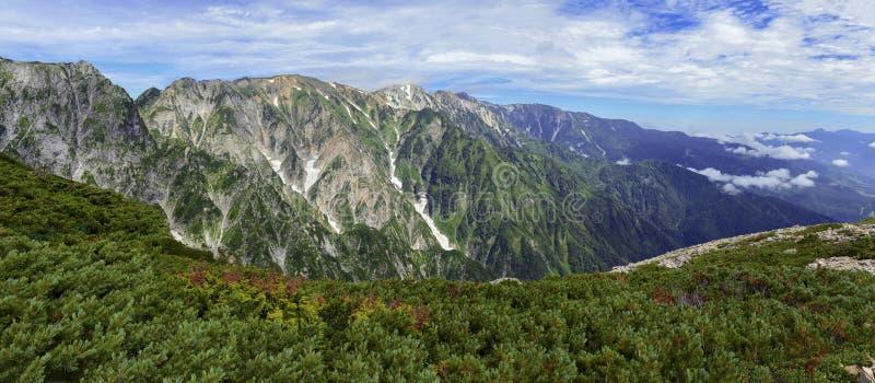 Panorama av Japan fjällängar royaltyfri foto