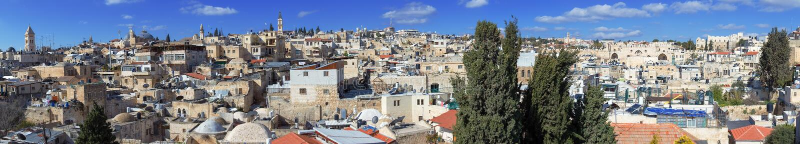 Panoramat - taklägger av den gammala staden, Jerusalem arkivfoto